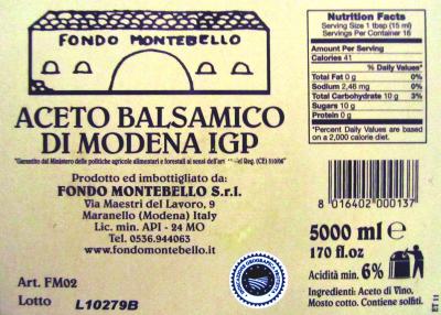 Aceto Balsamico 5 Liter FM 02 Fondo Montebello